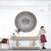 送料送料 シェル・ラウンドミラー 鏡 壁掛けミラー 大型 丸型 スタンドミラー ウォールミラー
