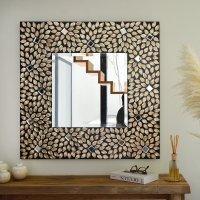 送料無料!シェル・スクエアミラー 鏡 壁掛けミラー 角型  ウォールミラー 四角ミラー