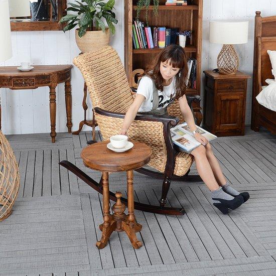 予約 送料無料!チーク・ラウンド サイド テーブル アジアン 木製 アンティーク風 玄関 花台 家具