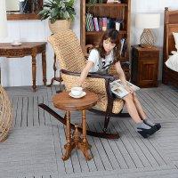 送料無料!チーク・ラウンド サイド テーブル アジアン 木製 アンティーク風 玄関 花台 家具