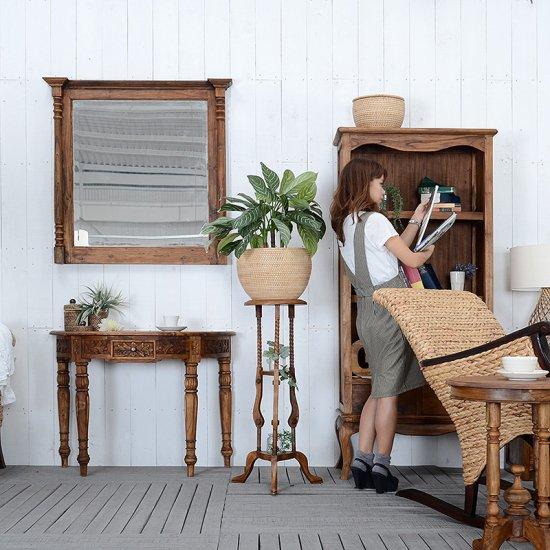 送料無料!チーク・プラントスタンド  フラワースタンド アジアン 木製 アンティーク風 玄関 花台 家具