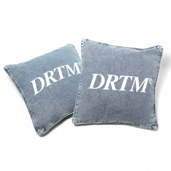 DRTM Logo Denim Throw Pillow