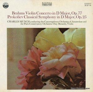シャルル・ミュンシュ - brahms; violin concerto in d major, op.77 - EVEREST3314