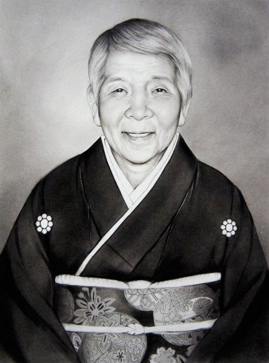 コンテ擦筆(白黒)肖像画(吉田秋光)