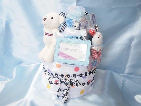 おむつケーキ(青):出産祝いや赤ちゃんの誕生日に!