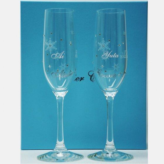 シャンパンペアグラス(名前入り:フルート型)