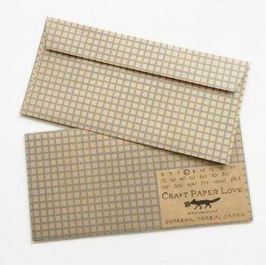 【CHARKHA】CRAFT PAPER LOVE封筒/グリッド
