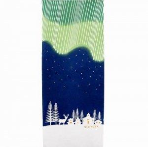 【にじゆら】手ぬぐい/オーロラが美しい夜-Finland- 緑