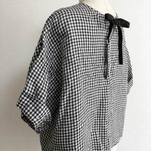【fog linen work】メル Tシャツ/ブラックホワイトチェック