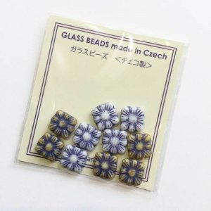 【CHARKHA】チェコのガラスビーズ10g/スクエアフラワー