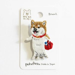 【pokefasu】イヌの散歩ブローチ