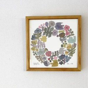 【BIRDS' WORDS】POSTER/SHABBY WREATH(20×20cm)額入り