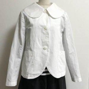 【aa.(ダブルエードット)】綿麻の丸襟ジャケット/白(M)