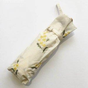【Wpc.】ミニパラソル/ミモザ刺繍 折りたたみ日傘 (晴雨兼用)
