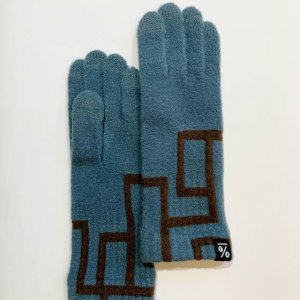 【% PERCENT】GLOVE-comfortable CONNECT (Smokey blue90% Brown10%)