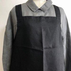 【fog linen work】リネンワーククロスエプロン(ブラック)