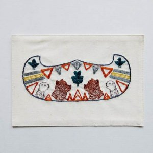 【Coral&Tusk】Embroidered card(刺繍カード)/canoe