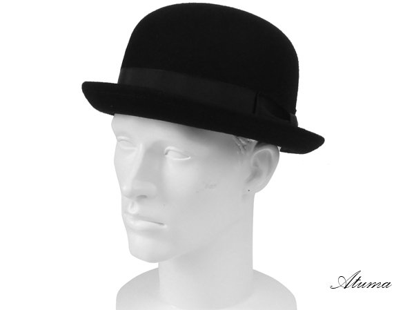 ニューヨークハットの山高帽(ボーラー)タイプのハット帽子。 小さめのツバ(ブリム)が人気です♪
