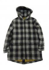 VOO(ヴォー) CHECK MELTON LONG HOODY / メルトンコート カラー:BLACKxGRAY