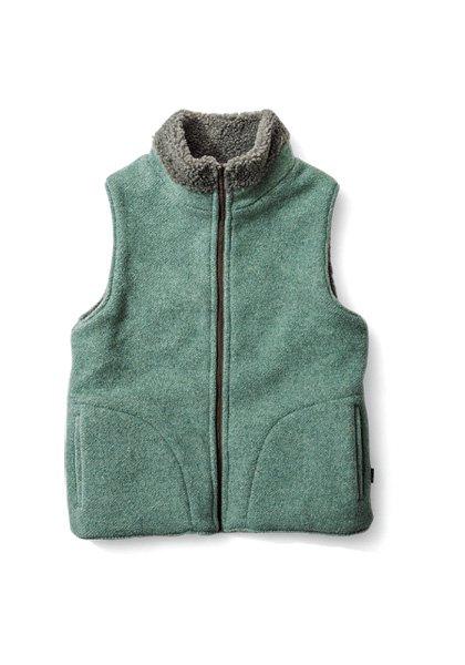 GREEN CLOTHING(グリーンクロージング) BOA VEST / リバーシブルベスト カラー:ワカクサ×モカ