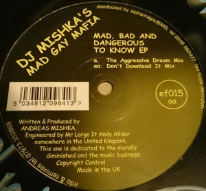 """Mad Gay Mafia _ Mad, Bad And Dangerous To Know EP _ Ef.adrine[輸入中古12""""/HARDTRANCE]"""