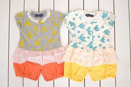 【メール便可】Little s.t. by s.t.closet s.t.クローゼット 鳥柄フリル付きカバーオール