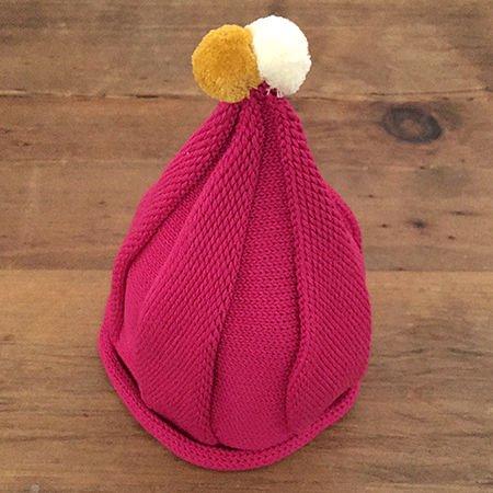 【メール便可】stample スタンプル とんがりベビーニット帽 ピンク_01