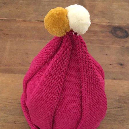 【メール便可】stample スタンプル とんがりベビーニット帽 ピンク_02