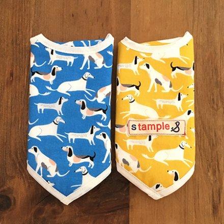 【メール便可】stample 犬プリントスタイ2枚組 ブルー