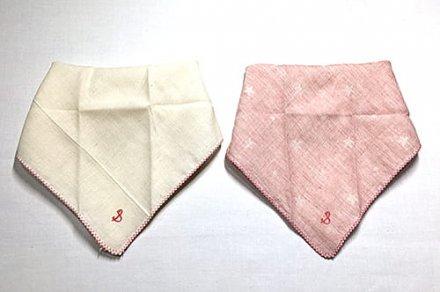 【メール便可】stample スタンプル ガーゼバンダナ風スタイ ピンク+キナリ