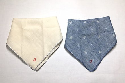 【メール便可】stample スタンプル ガーゼバンダナ風スタイ ブルー+キナリ