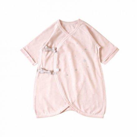 【メール便可】10mois ディモワ 星プリントコンビ肌着  ピンク 50-60cm