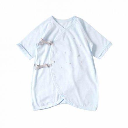 【メール便可】10mois ディモワ 星プリントコンビ肌着 ブルー 50-60cm