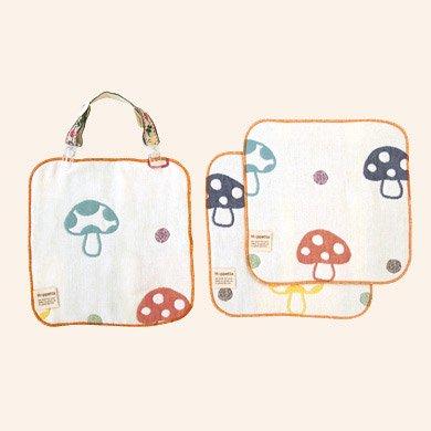 【メール便可】champignon(シャンピニオン)6重ガーゼハンカチ&クリップセット_01