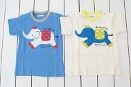 【メール便可】Cheri miel blueu azur シェリーミエル ぞう柄Tシャツ