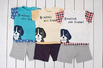 【メール便可】Cheri miel blueu azur (シェリーミエル) いぬ柄Tシャツ&5分丈パンツセット
