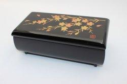 6.5袋型オルゴール宝石箱 黒 桜