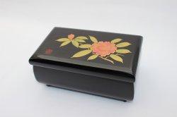 5.5袋型オルゴール宝石箱 黒 しゃくなげ
