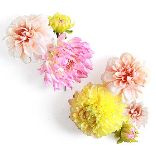 アーティフィシャルフラワー(造花)の陽色ダリアの髪飾り_airaka
