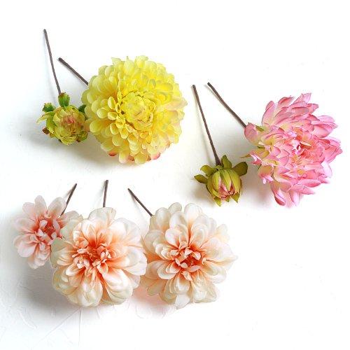 アーティフィシャルフラワー(造花)の陽色ダリアの髪飾り画像_airaka
