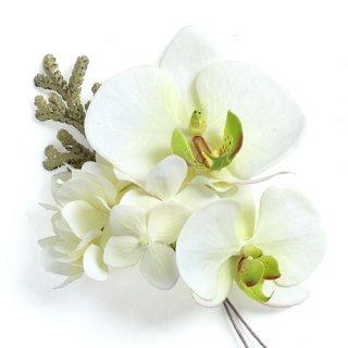 アーティフィシャルフラワー(造花)の胡蝶蘭の髪飾り画像_airaka