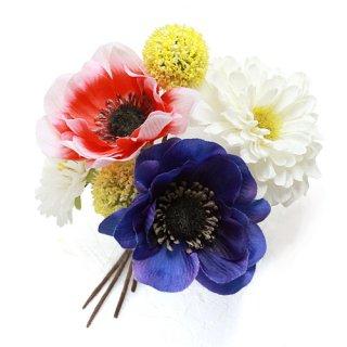 アーティフィシャルフラワー(造花)のアネモネとジニアの髪飾り画像_airaka