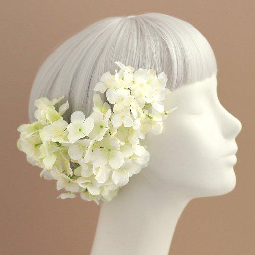 アーティフィシャルフラワー(造花)の紫陽花の髪飾り(ホワイトグリーン)_airaka