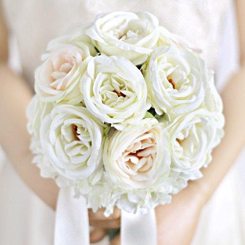 アーティフィシャルフラワー(造花)のカップ咲きローズのブーケ(リボンハンドル)手づくりキット画像_airaka