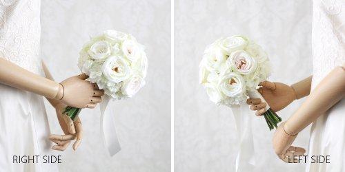 アーティフィシャルフラワー(造花)のカップ咲きローズのクラッチブーケ(白)画像_airaka