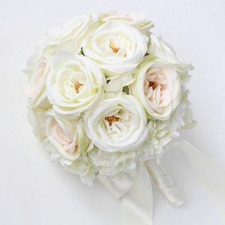 アーティフィシャルフラワー(造花)のカップ咲きローズのブーケ(リボンハンドル)画像_airaka