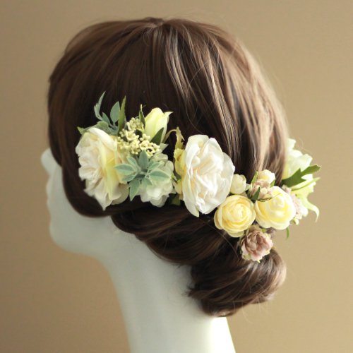 フリルローズの髪飾り(クリーム)画像_airaka
