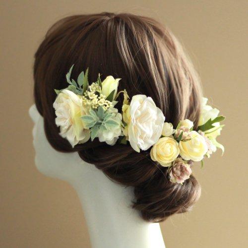 アーティフィシャルフラワー(造花)のフリルローズの髪飾り(クリーム)画像_airaka