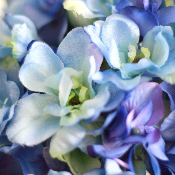 アーティフィシャルフラワー(造花)のデルフィニウムのラウンドブーケと花冠のセット(青)画像_airaka