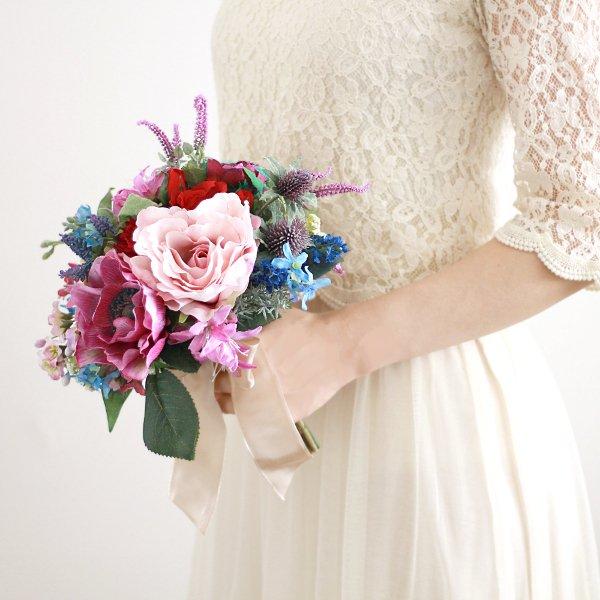 アーティフィシャルフラワー(造花)のアネモネとバラのクラッチブーケ画像_airaka